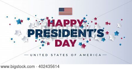 Happy Presidents Day With Stars And Usa Flag - Vector Illustration For Presidents Day Banner, Poster