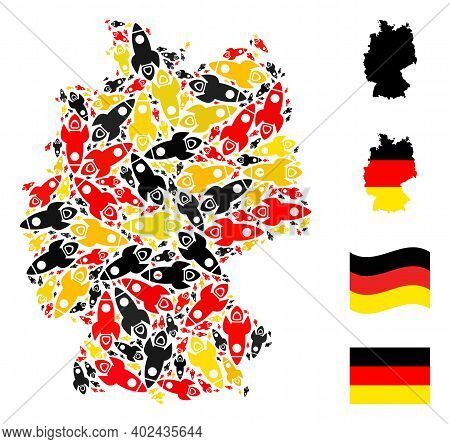 Germany State Map Mosaic In Germany Flag Official Colors - Red, Yellow, Black. Vector Space Rocket I