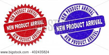 Rounded And Rosette New Product Arrival Seal Stamps. Flat Vector Grunge Stamps With New Product Arri