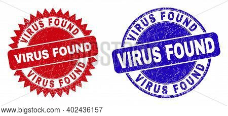 Round And Rosette Virus Found Seal Stamps. Flat Vector Grunge Watermarks With Virus Found Phrase Ins