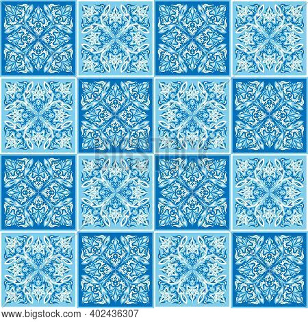 Seamless Ornamental Tile Background. Blue And White Colors On Tiles Mosaic. Decor, Ceramic Tiles