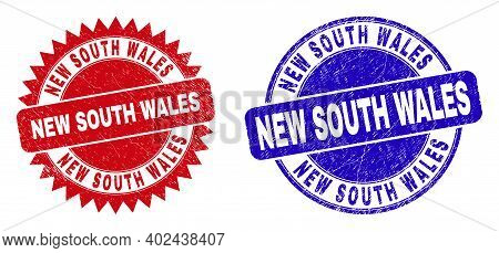 Round And Rosette New South Wales Seal Stamps. Flat Vector Distress Seal Stamps With New South Wales