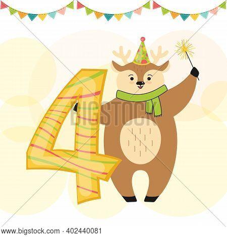 Birthday Card Deer Sparkler Number Four Vector