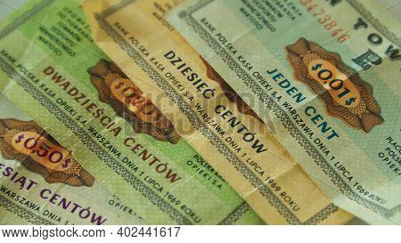 Warsaw Poland - 11 03 2019 Polish Bon Towarowy From 1980, Pekao Checks, The Complementary Currency U
