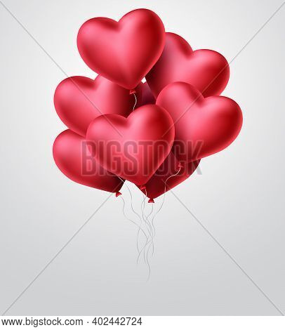 Heart Balloons Vector Concept Design. Valentines Day With Bunch Of Red Heart Balloon Elements Flying