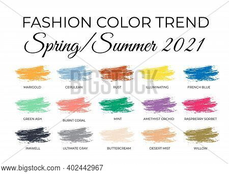 Fashion Color Trends Spring Summer 2021. Trendy Colors Palette Guide. Brush Strokes Of Paint Color W