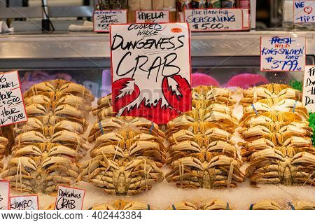 Fresh Dungeness Crab On Ice In Farmers Market