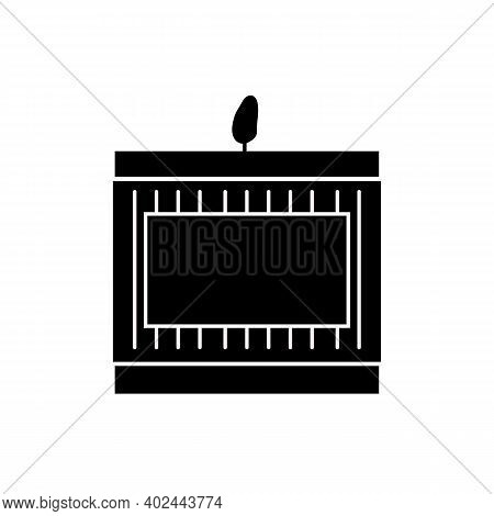 The Scented Candle In The Glass Cup Is Lit. Glass Candle Holder. Simple Icon Style. The Symbol On A