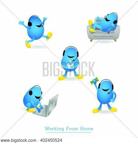 Cute Monster Character In Slippers With Headset Working From Home. Set Of Five Different Poses. Tele
