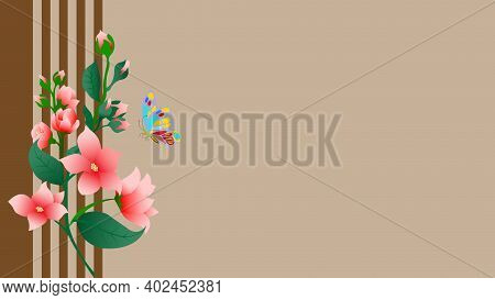 A Bouquet Of Red Flowers On Wooden Slats With Butterflly.