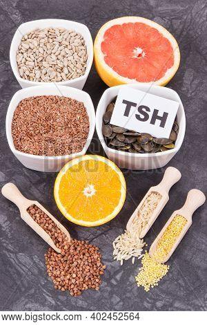 Products And Ingredients As Source Natural Vitamins And Minerals. Beneficial Eating For Thyroid Glan