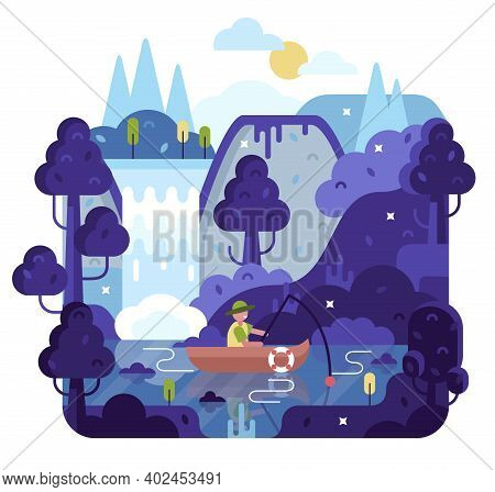 Fisherman With A Fishing Rod In The Boat On The River. Flat Cartoon Design Nature Landscape Illustra