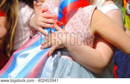 Primary School Graduate Girls Hugging, Russian School Graduation