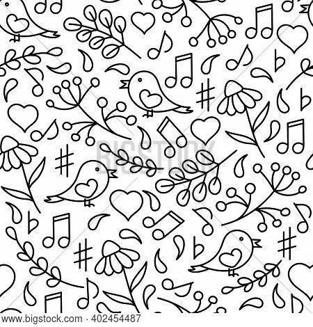 Music Seamless Pattern. Hand Drawn Vector Illustration. Music Concert Festival Doodle Background. Mu