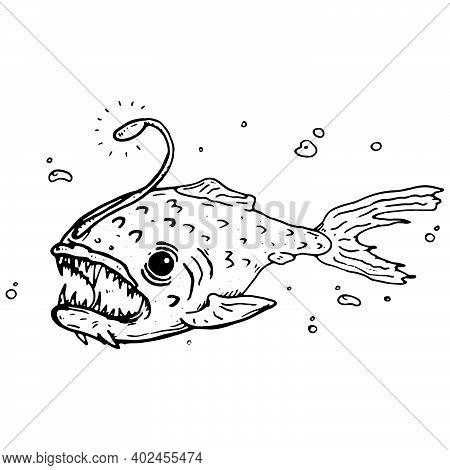 Deep Sea Predatory Fish. Angler Fish Vector.