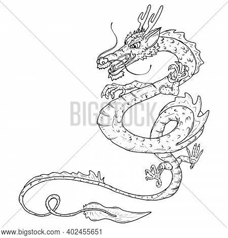 Dragon Lun. Vector Chinese Dragon. Coloring Book.