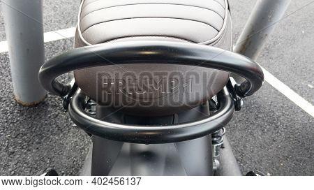 Bordeaux , Aquitaine  France - 01 05 2021 : Triumph Bonneville Rear Seat Brown Bonnie Motorcycle Det