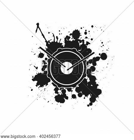 Vector Logo Of Rock School Or Rock Band. Snare Drum With Drumsticks And Ink Or Paint Drops And Blots