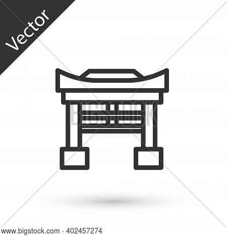 Grey Line Japan Gate Icon Isolated On White Background. Torii Gate Sign. Japanese Traditional Classi