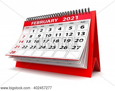 3d Desktop Calendar February 2021 Isolated In White Background, February 2021 Spiral Calendar