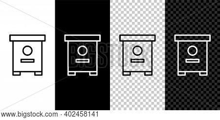 Set Line Hive For Bees Icon Isolated On Black And White Background. Beehive Symbol. Apiary And Beeke