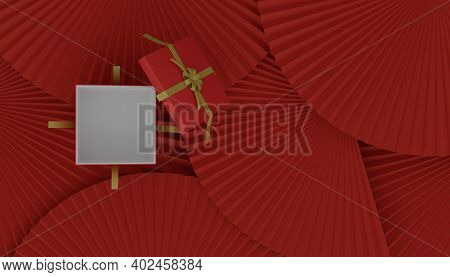 Chinese New Year Empty Present Giftbox Open On The Paper Fan, Chinese Or Japanese Festival Concept,