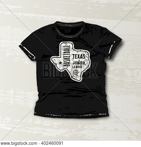 Basketball Texas Junior League Emblem. Graphic Design For T-shirt. White Print On Black Wear