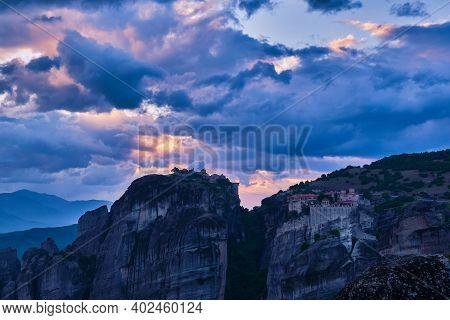 Twilight Over Varlaam And Great Meteoron Monasteries In Meteora, Greece. Underexposed, Great Sunset