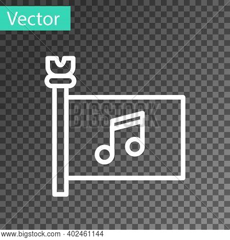 White Line Music Festival, Access, Flag, Music Note Icon Isolated On Transparent Background. Vector
