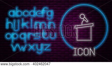 Glowing Neon Line Stage Stand Or Debate Podium Rostrum Icon Isolated On Brick Wall Background. Confe