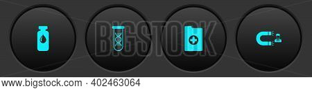 Set Medical Vial, Ampoule, Dna Research, Search, Clinical Record And Customer Attracting Icon. Vecto