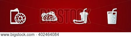 Set Aluminum Can Soda And Donut, Taco With Tortilla, Soda Hotdog And Glass Water Icon. Vector
