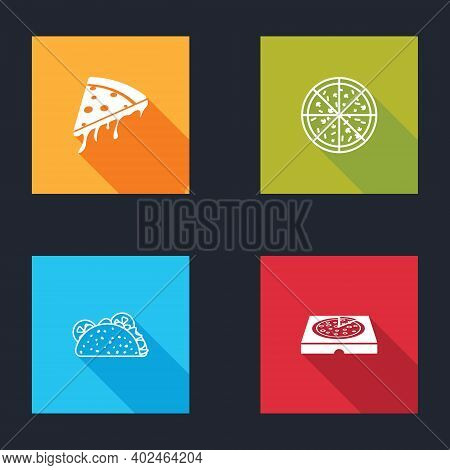 Set Slice Of Pizza, Pizza, Taco With Tortilla And In Cardboard Box Icon. Vector
