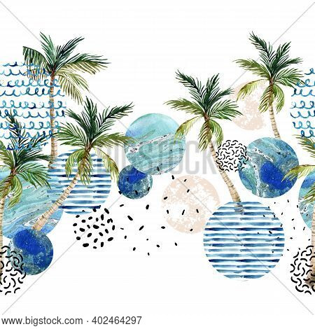 Abstract Summer Art Seamless Pattern. Art Illustration With Palm Tree, Palm Leaves, Doodle, Marble,