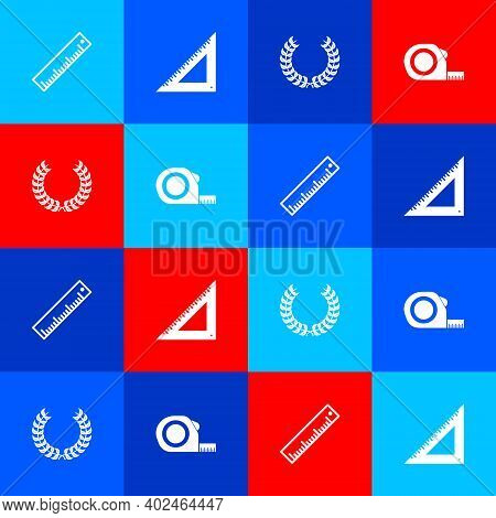 Set Ruler, Triangular Ruler, Laurel Wreath And Roulette Construction Icon. Vector