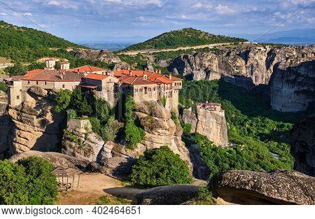 Cliff Top Varlaam Monastery, Meteora, Greece, Typical Landscape, Rocky Pillars. Moni Agias Varvaras