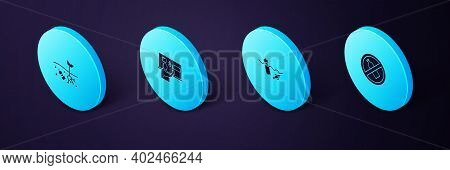 Set Isometric No Plastic Bottle, Problem Pollution Of The Ocean, Stop And Planet Icon. Vector
