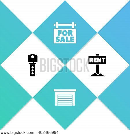 Set House Key, Garage, Hanging Sign With For Sale And Rent Icon. Vector