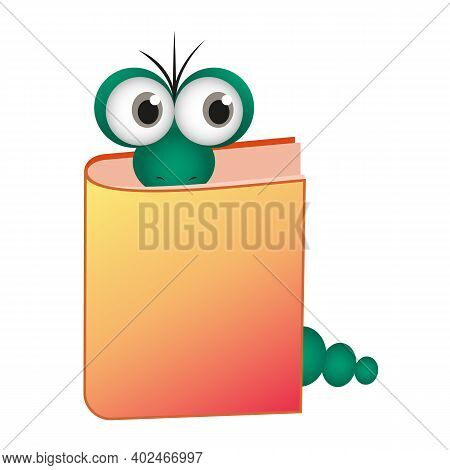 Vector Illustration Of A Bookworm. An Intelligent And Inquisitive Worm Reads A Book. The Caterpillar