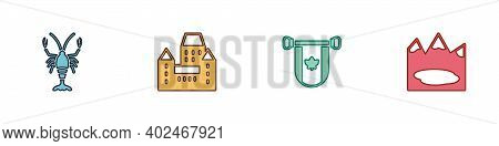 Set Lobster, Chateau Frontenac Hotel, Pennant Canada And Canadian Lake Icon. Vector