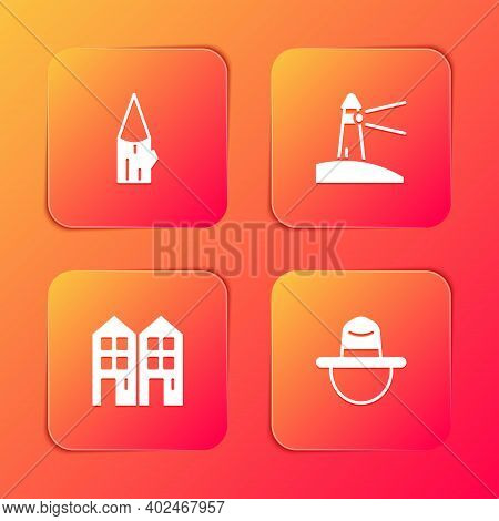 Set Wooden Log, Lighthouse, House And Canadian Ranger Hat Icon. Vector