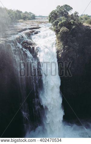 Devil's Cataract Waterfall At Victoria Falls On The Zambezi River In Zimbabwe, Africa