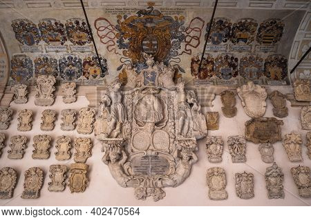 Padua, Veneto, Italy - August 16 2020: Coat Of Arms In The Old Court Or Cortile Antico Of Palazzo De