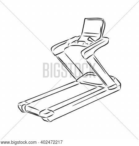Treadmill Doodle Style Sketch Illustration Hand Drawn Vector Treadmill Vector Sketch Illustration.