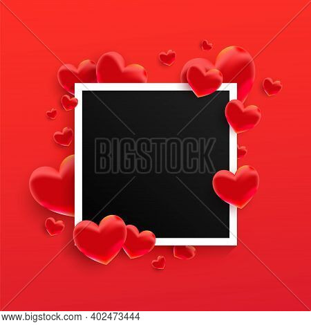 Empty Black Photo Frame With Many 3d Sweet Love Hearts Shape On Red Background.