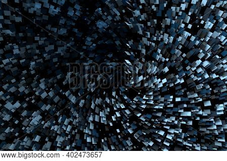 Abstract Sci-fi Background With Many Flying Square Randomly Colored Polygonal Pieces. 3d Illustratio