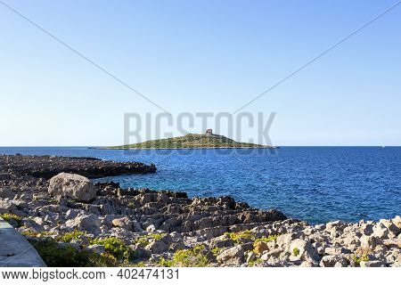 Beautiful View Of Isola Delle Femmine, A Very Small Island In The Province Of Palermo