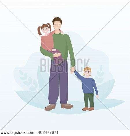 Portrait Of A Happy Family. Father With Two Children, Son And Daughter. Celebrating Father S Day. Pe