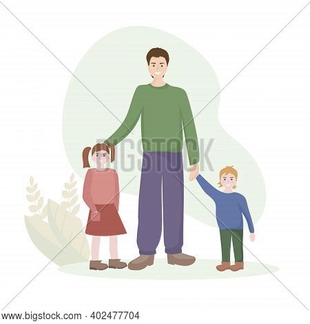 Portrait Of A Happy Family. Father With Two Children, Son And Daughter. Celebrating Father's Day. Pe