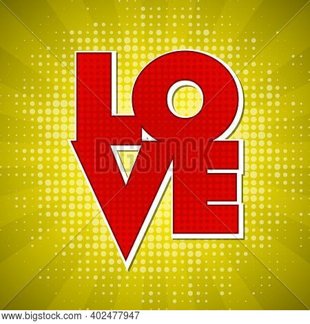 Love Banner. Happy Valentines Day And Weeding Design Dotty Elements. Illustration. Abstract Dot Back